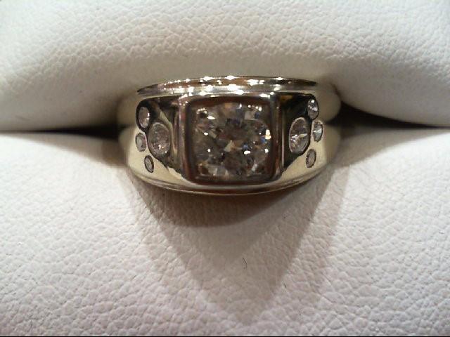 Gent's Gold-Diamond Wedding Band 9 Diamonds .99 Carat T.W. 14K White Gold 6.24g