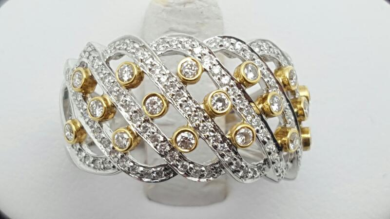 Lady's Diamond Fashion Ring 38 Diamonds 0.76 Carat T.W. 14K 2 Tone Gold 5.5g Siz