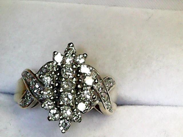 Lady's Diamond Cluster Ring 34 Diamonds 1.30 Carat T.W. 10K Yellow Gold 4dwt