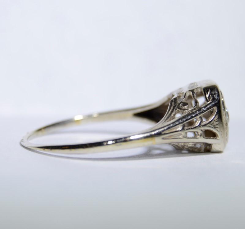 14K White Gold Vintage Inspired Cathedral Set Filigree Diamond Engagement Ring