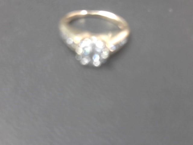 Lady's Diamond Engagement Ring 15 Diamonds .89 Carat T.W. 14K Yellow Gold 3.9g