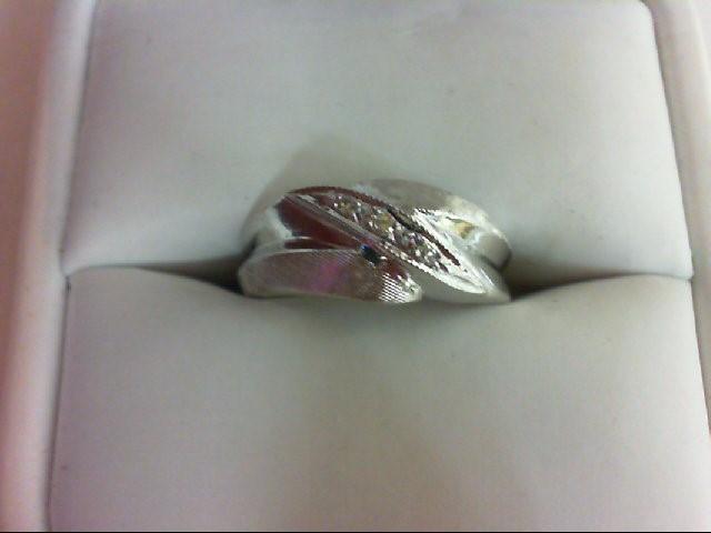 Lady's Diamond Wedding Band 3 Diamonds 0.03 Carat T.W. 14K White Gold 4.8g
