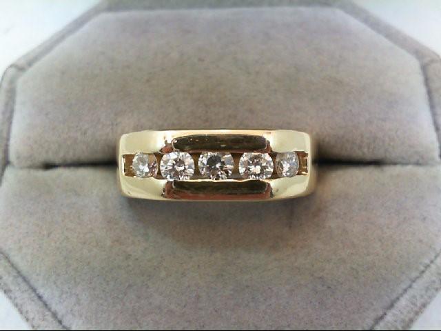 Gent's Gold-Diamond Wedding Band 5 Diamonds .75 Carat T.W. 14K Yellow Gold 7.6g