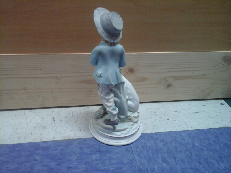 "10"" LADY WITH DOG CERAMIC FIGURINE"