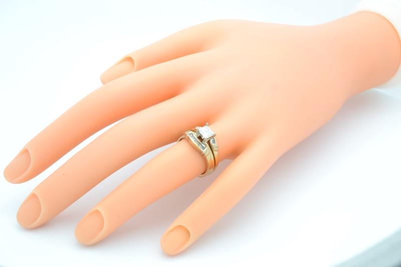 PRINCESS NATURAL DIAMOND WEDDING SET RING BAND SOLID 14K GOLD ENGAGE