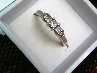 Lady's Diamond Engagement Ring 3 Diamonds .50 Carat T.W. 14K White Gold 3.48g