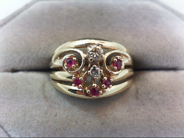 Ruby Lady's Stone & Diamond Ring 2 Diamonds .15 Carat T.W. 14K Yellow Gold 5.3g
