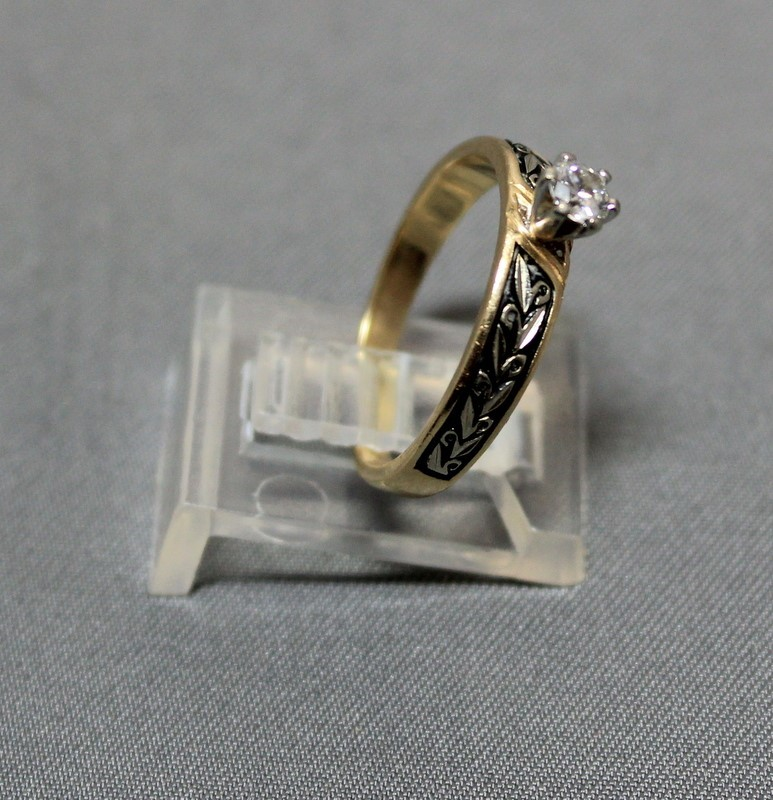 Lady's Diamond Solitaire Ring .15 CT. 14K Yellow Gold 2.6g