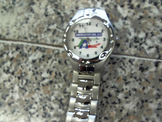 AMERICANOS USA SILVER TONE WATCH MNS M/NV S/NV IN WHT BOX