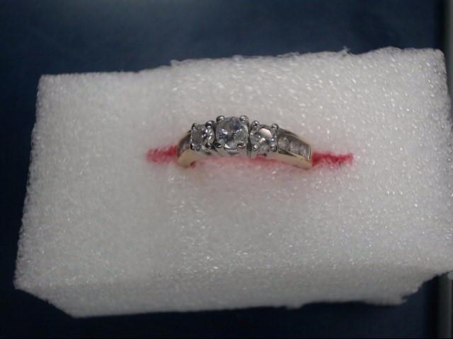Lady's Diamond Cluster Ring 3 Diamonds .75 Carat T.W. 14K Yellow Gold 3.04dwt