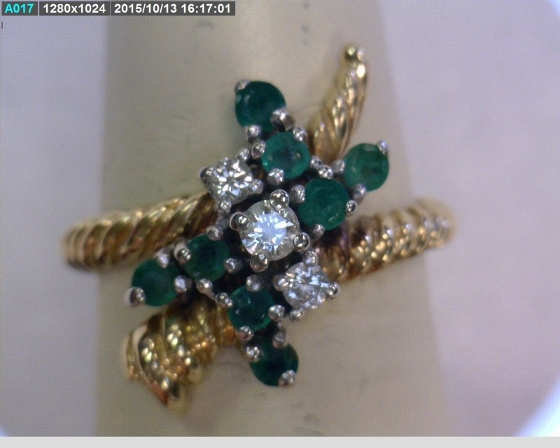 Emerald Lady's Stone & Diamond Ring 3 Diamonds .10 Carat T.W. 14K Yellow Gold
