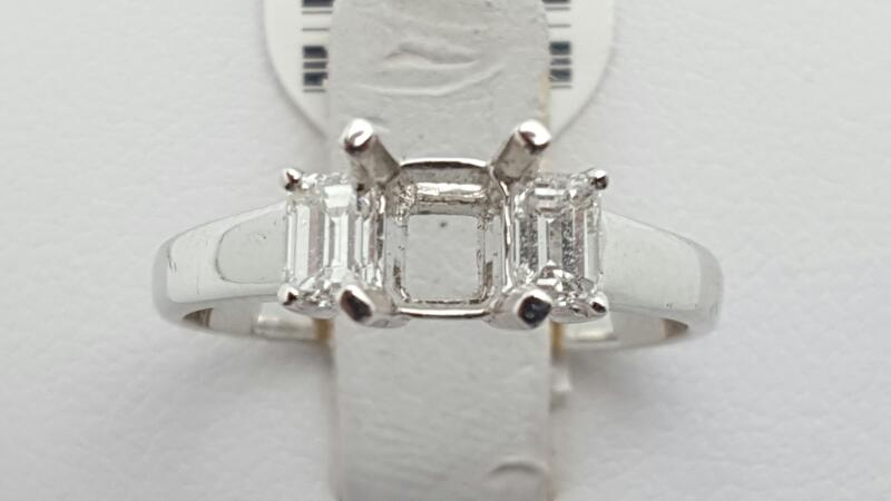 Lady's Diamond Engagement Ring 2 Diamonds .44 Carat T.W. 18K White Gold 2.8g