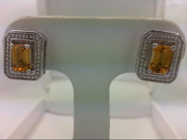 Citrine Silver-Stone Earrings 925 Silver 3.8g