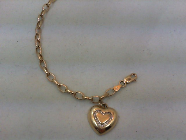 Gold-Diamond Bracelet 16 Diamonds .16 Carat T.W. 10K Yellow Gold 5.5g
