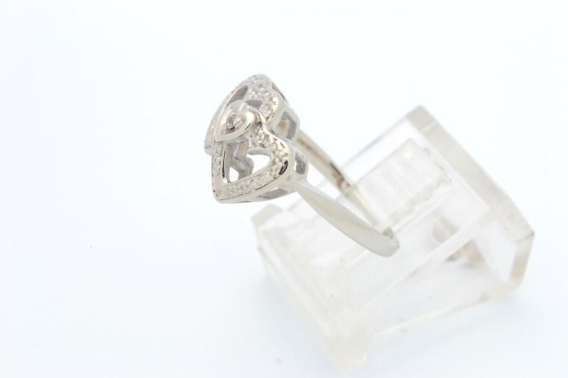ESTATE DIAMOND TWIN HEART RING SOLID 14K WHITE GOLD 2 DOUBLE SZ 5.5