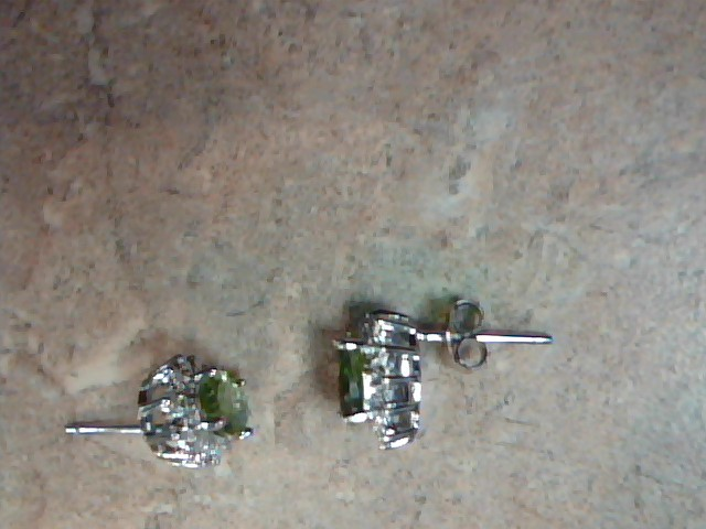 Green Stone Silver-Stone Earrings 925 Silver 2.5g