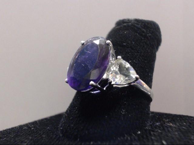 Amethyst Lady's Stone Ring 14K White Gold 3.6g Size:8