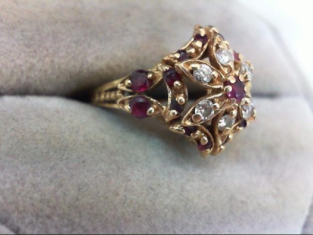 Ruby Lady's Stone & Diamond Ring 6 Diamonds .18 Carat T.W. 14K Yellow Gold 3.8g