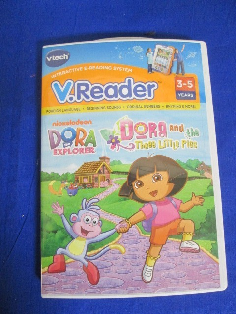 NEW VTECH VREADER DORA THE EXPLORER & THE 3 LITTLE PIGS GAME