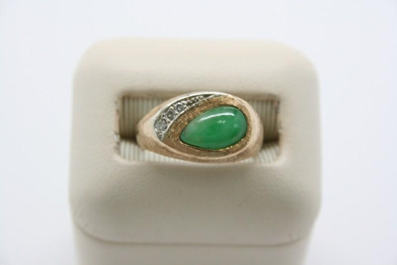 GENT'S DIAMOND & JADE RING 14K YELLOW GOLD