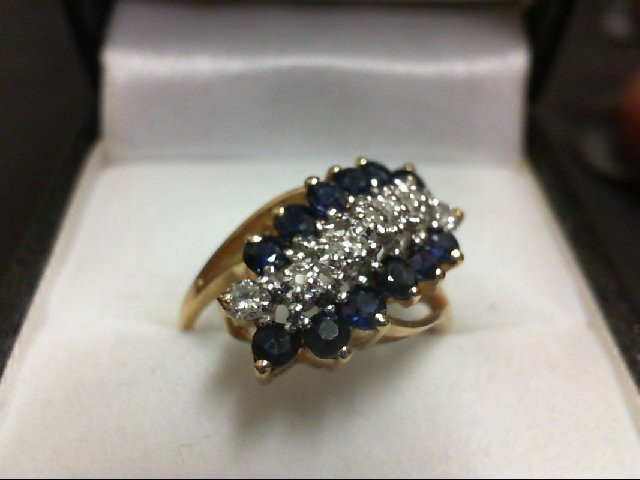 Sapphire Lady's Stone & Diamond Ring 2 Diamonds 0.12 Carat T.W. 10K Yellow Gold