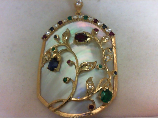 Synthetic Green Stone Gold-Stone Pendant 22K Yellow Gold 7g