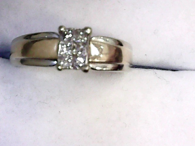 Lady's Diamond Engagement Ring 6 Diamonds .18 Carat T.W. 14K White Gold 3.4dwt