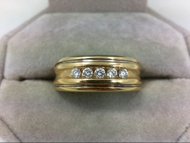 Gent's Gold-Diamond Wedding Band 5 Diamonds 0.35 Carat T.W. 14K Yellow Gold 5.6g