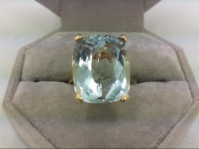 Aquamarine Lady's Stone Ring 14K Yellow Gold 6.7g