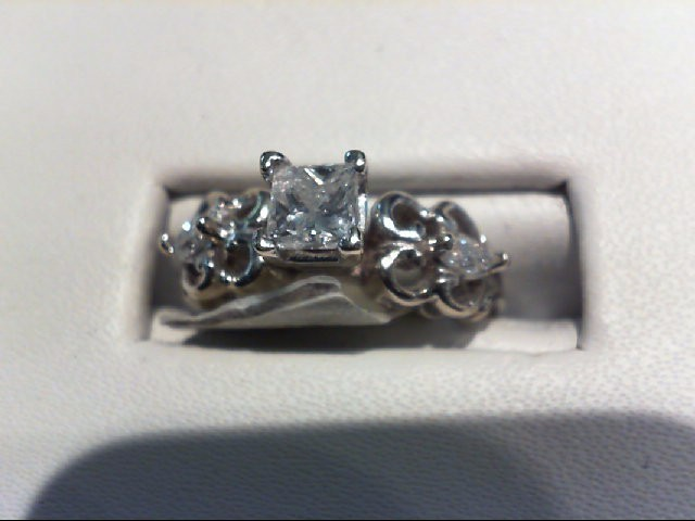 Lady's Diamond Solitaire Ring 3 Diamonds .50 Carat T.W. 14K White Gold 3.68g