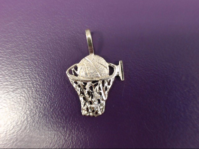 14K Yellow Gold Basketball in Hoop Pendant *NOTHING BUT NET*
