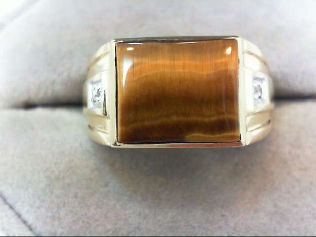 Gent's Gold-Diamond Wedding Band 2 Diamonds .02 Carat T.W. 10K Yellow Gold 3.9g