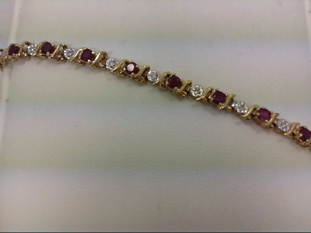 Ruby Gold-Diamond & Stone Bracelet 22 Diamonds 0.22 Carat T.W. 14K Yellow Gold 5