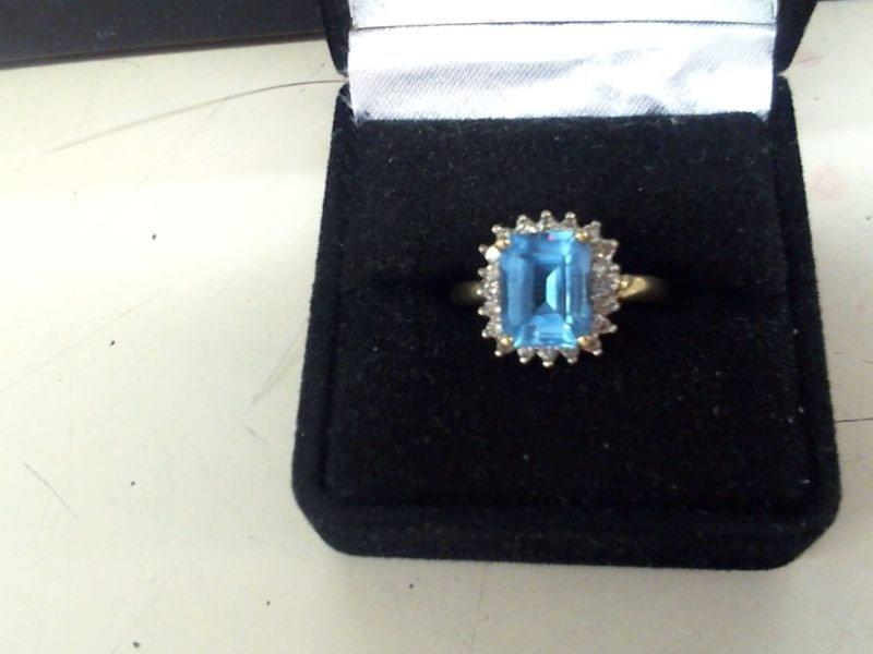 Blue Topaz Lady's Stone & Diamond Ring 21 Diamonds .42 Carat T.W.