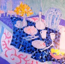 TONY CURTIS TABLE SET WITH YELLOW FLOWERS PAINTING LIMITED EDITION