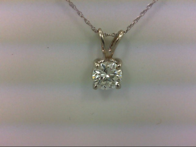 Gold-Diamond Solitaire Pendant .90 CT. 14K White Gold 0.9g