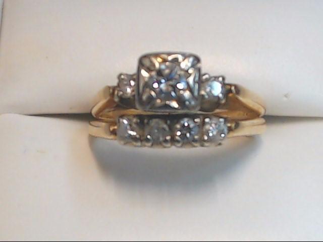 Lady's Diamond Wedding Set 7 Diamonds .67 Carat T.W. 14K Yellow Gold 4.3g