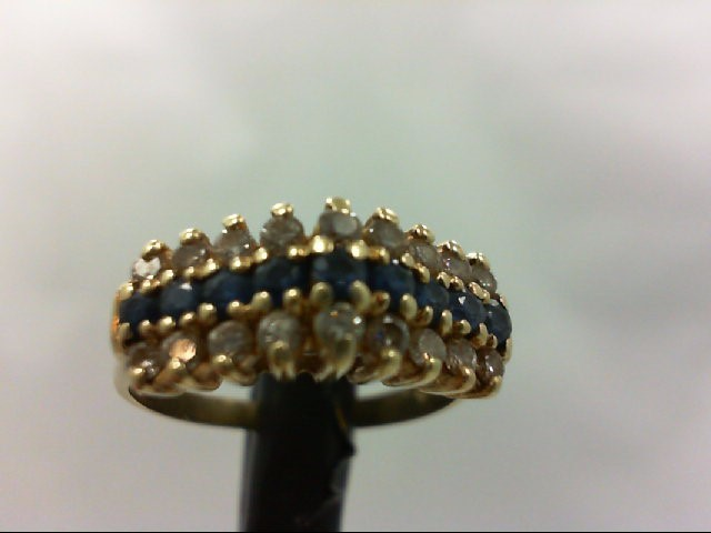 Sapphire Lady's Stone & Diamond Ring 18 Diamonds 0.18 Carat T.W. 14K Yellow Gold