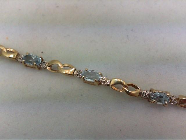 Aquamarine Gold-Stone Bracelet 10K Yellow Gold 4g