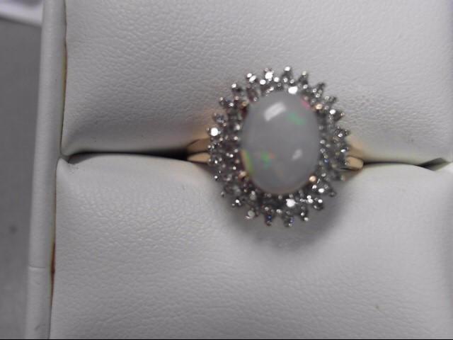 White Stone Lady's Stone & Diamond Ring 52 Diamonds .52 Carat T.W.