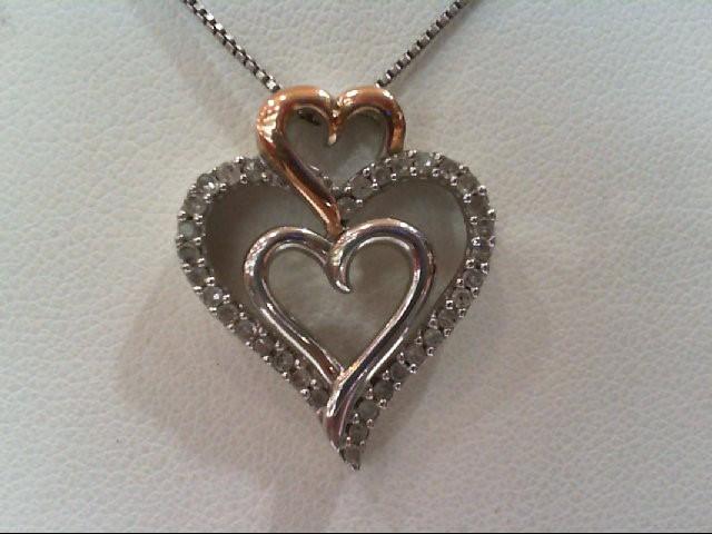 Silver-Diamond Pendant 34 Diamonds .170 Carat T.W. 925 Silver 3.8g