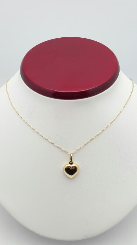 """Gold heart pendant w/ 16"""" cable chain 14K Yellow Gold 2.4g"""