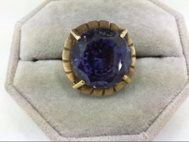 Synthetic Alexandrite Lady's Stone Ring 14K Yellow Gold 6.9g