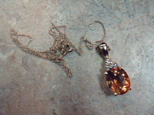 CITRINE ORANGE DIAMOND NECKLACE SOLID 14K YELLOW GOLD OVAL CHARM 18""