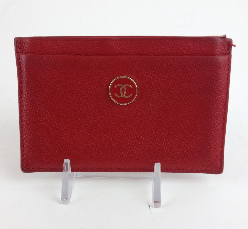 CHANEL RED LEATHER CC CREDIT CARD HOLDER