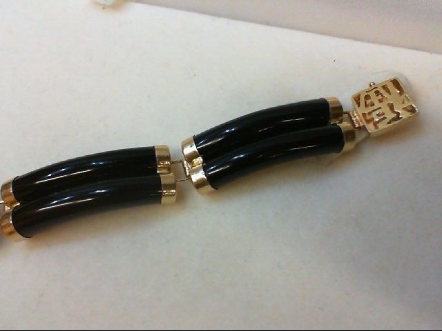 Synthetic Black Stone Gold-Stone Bracelet 14K Yellow Gold 15.9g