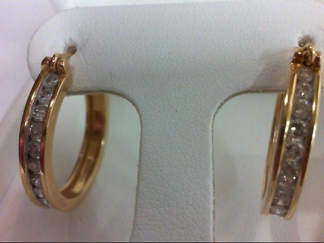 Gold-Diamond Earrings 24 Diamonds .96 Carat T.W. 14K Yellow Gold 8.48g