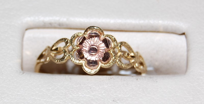 10K Two-Tone Gold Lady's Ring 1.0G Size 6