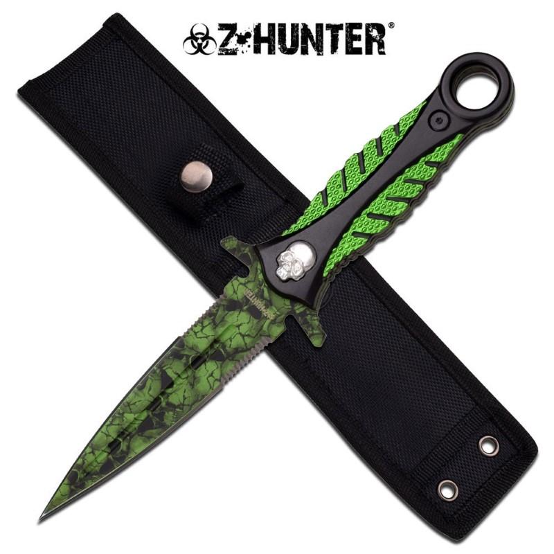"MASTER CUTLERY Sword ZB-056GN 9.75"" BOOT KNIFE WGREEN SKULL BLADE GREEN/BLACK HA"