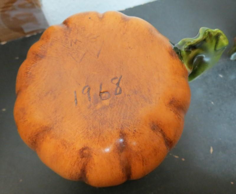 Vintage Hand Made Pumkin Punch Bowl or Cookie Jar, Ladle & 12 Cups